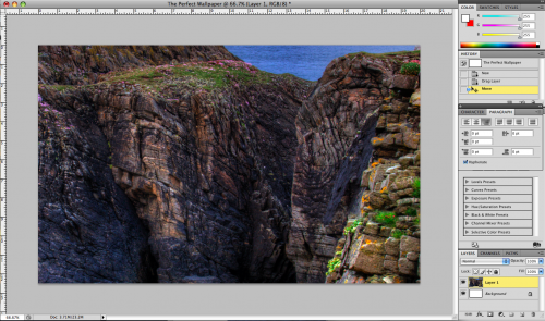 Wallpaper document in Photoshop after pasting image file into it