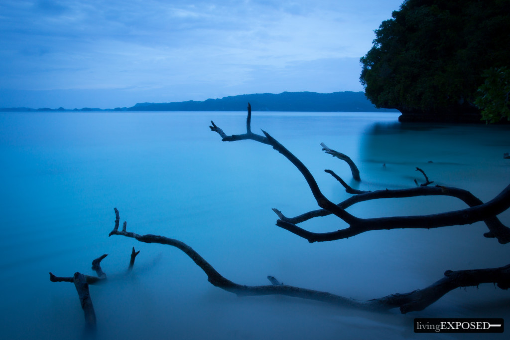 Using the Tv mode with a thirty second shutter speed will blur water completely, like in this coastal shot from Palau (PC: Jesse Stephen)